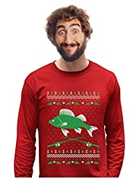 Fishing Ugly Christmas Sweater Gift for Fishermen Xmas Long Sleeve T-Shirt