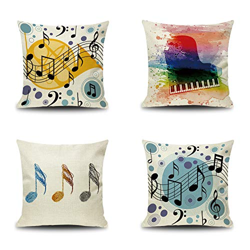 YOUR SMILE Set of 4 Music Note Cotton Linen Decorative Throw Pillow Case Cushion Cover 18 x 18 inch (Musical Note) for $<!--$18.99-->