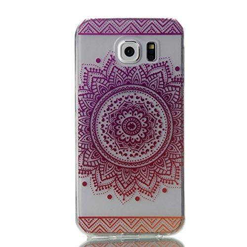 Funda para Samsung Galaxy S6, Ukayfe Suave Carcasa Caso Parachoques Diseño pintado Patrón para Samsung Galaxy S6,Funda Case Lujo Premium Bling Caja PC Dura Ultra Fina Cubierta Matt Glitter Protectora  Girasol-Gradiente de color Púrpura-rojo