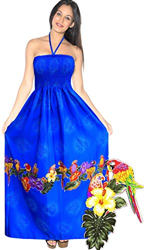 Swim wear Halter Neck Women Beachwear Dress Tube Top Maxi Cover up Swimsuit Blue Spring Summer 2017 (Hawaiian Party Dress)