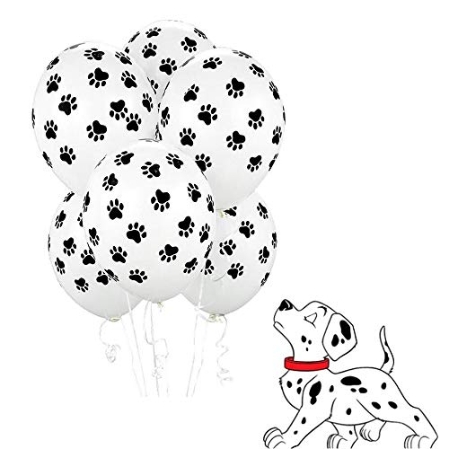 12 inches Black Paw Prints Latex White Balloons for Children's Birthday Party Supplies Decoration or Weddings, Set of 50