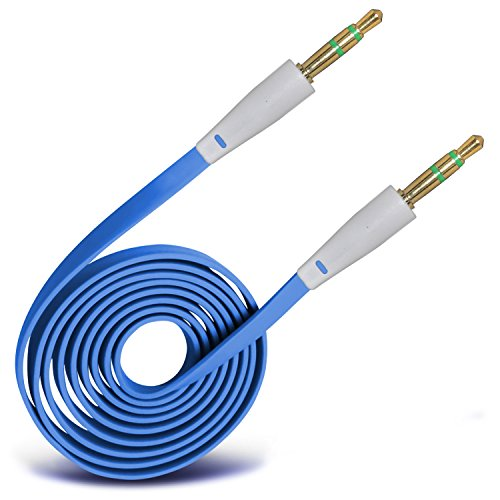 ONX3® (Baby Blue) High Quality 3.5mm Male To Male Jack Flat Cable AUX Auxiliary Audio Cable Lead For HTC EVO Shift 4G
