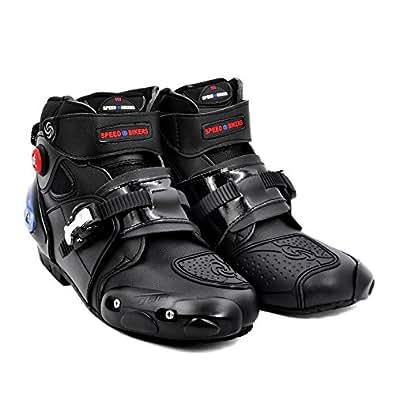 BJ Global Marca Profesional–Botas para Moto Racing Botas Calzado de Tobillo Proteger Biker Moto Impermeable Tamaño 40–45Negro, Color Negro, tamaño 43