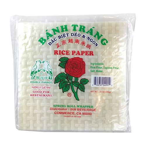 ROM AMERICA Red Rose [ 12oz ] Banh Trang Spring Rolls Paper Wrapper Roll Rice Paper - 8.5 inch - Square Shape