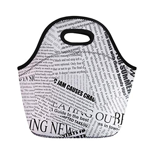 Semtomn Lunch Bags News Black and White Torn Newspaper Continuous Pattern Left Neoprene Lunch Bag Lunchbox Tote Bag Portable Picnic Bag Cooler Bag