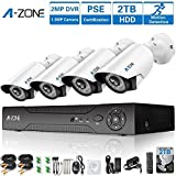 Security Camera System, A-ZONE 4 Channel 1080P DVR 4 x 960P Full HD Waterproof 100ft Night Vision Indoor/Outdoor Home CCTV Video Wired Surveillance Kits, Customizable Motion Detection, 2TB Hard Drive