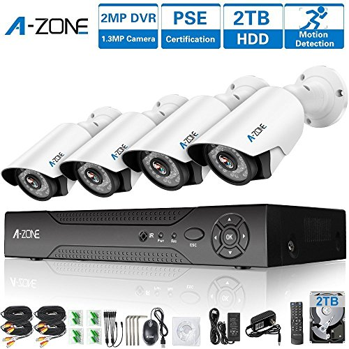 A-ZONE 4 Channel AHD 1080P Security Cameras System W/ 4x HD 1.3MP Waterproof Night Vision Indoor/Outdoor CCTV Home Surveillance System, Quick Remote Access Setup Free App-Including 2TB HDD