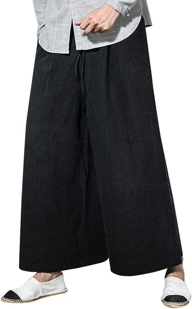which Simon Mens Pants Pantalones Holgados de Lino y algodón para ...