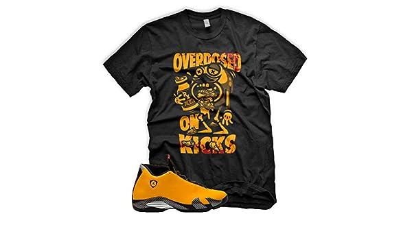 9a7133947faff Amazon.com: New OVERDOSED ON KICKS T Shirt for Jordan 14 Xiv Yellow ...