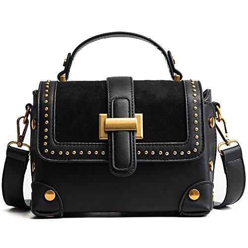 Niet Diagonalpaket Matte PU Handtasche Kleine Partytasche,Darkbrown Black
