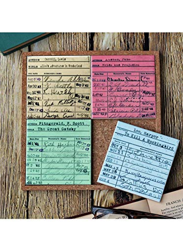 """""""Library Card Coaster Set"""" by Traveled Lane"""