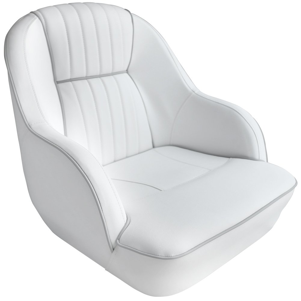 Leader Accessories Pontoon Captains Bucket Seat Boat Seat (White/Gray piping)