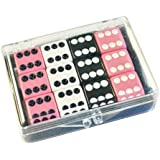 Set of 12 Opaque dice - Pink - White - Black in Acrylic Box