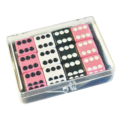 Set of 12 Opaque dice - Pink - White - Black in Acrylic Box Bunco Dice Set