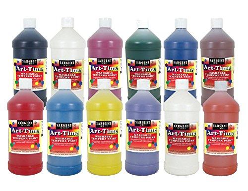Sargent Art 17-3512 32 oz Art-Time Washable Tempera Paint Assortment, 12 Bottle Set, 11 Colors (Tempera Paint Assortment)