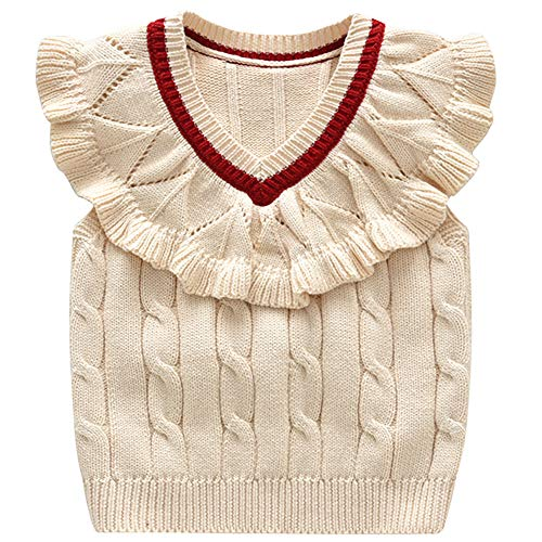 Baby Toddler Girls Wollen Sleeveless Sweater Vest Knitted Lace Design Pullover Costume Beige 100