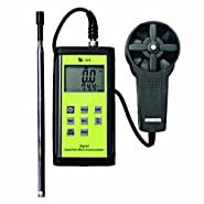 TPI 575C1 Digital Anemometer with Vane Probe and Hot-Wire Probe, 0.4 to 25 m/s Velocity, -20 to +80° C Temperature
