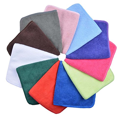 Sinland Absorbent Microfiber Dish Cloth Kitchen Streak Free Cleaning Cloth Dish Rags Lens Cloths 12inchx12inch 12 Pack
