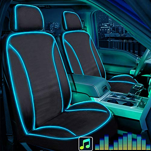 Big Ant Seat Covers with LED Light, Piping Lights Up with Music Seat Cover Waterproof Car Seat Cover with USB Connection, Fit Most Car, Truck, SUV, or Van (Black 1PC-Airbag Compatible)
