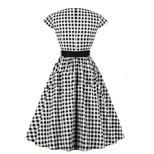 Short Women Black Hepburn Sleeve Belt Dress Coolred Style High Vintage Waist qdwp7nvt