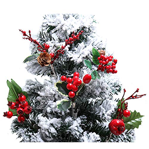 ZJCilected Artificial Red Berries, Holly Christmas Berry Picks with Pinecone, Leaf and Clip for Christmas Tree Wreath Garland Decoration, 5-Pack (Christmas Tree Picks)