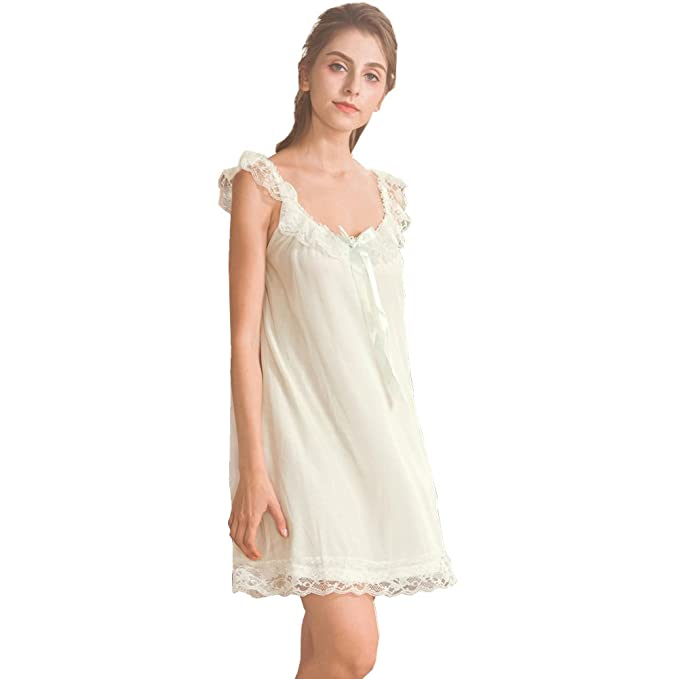 d00de3941c Women s Lace Vintage Victorian Nightgown Ladies Sleeveless Sleep Dress at  Amazon Women s Clothing store