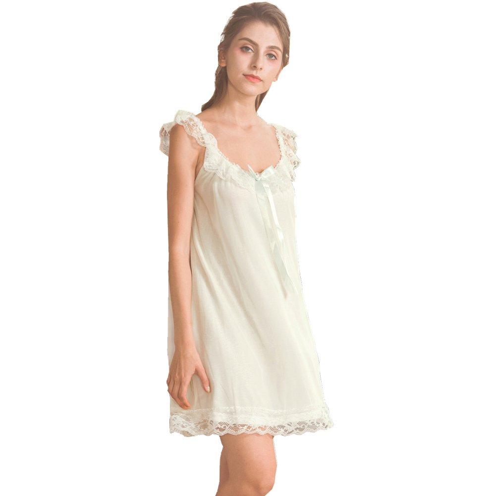Flaydigo Women's Lace Vintage Victorian Nightgown Ladies Sleeveless Sleep Dress