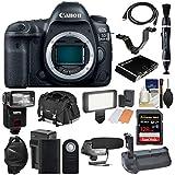 Canon EOS 5D Mark IV 4K Wi-Fi Digital SLR Camera Body 128GB CF Card + Battery & Charger + Grip + Case + Flash + LED Light + Mic + Kit