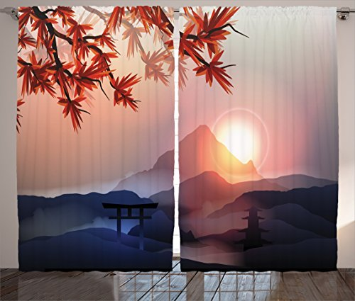 Ambesonne Asian Curtains, Majestic Himalayas Peaks Tops Silhouette of Sun Life Circle Culture Artwork, Living Room Bedroom Window Drapes 2 Panel Set, 108 W X 84 L Inches, Blue Pink
