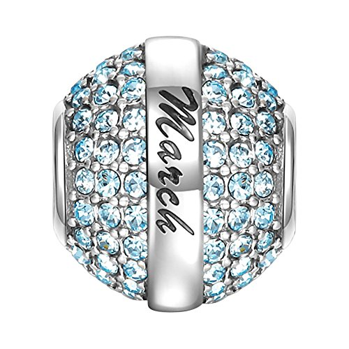 SOUFEEL March Birthstone Charm Ocean Blue Swarovski Crystal 925 Sterling Silver Charms Fit European Bracelet