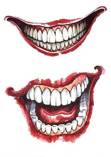 Set of 2 Waterproof Temporary Fake Tattoo Stickers Cool Sexy Horror Joker Face Halloween -