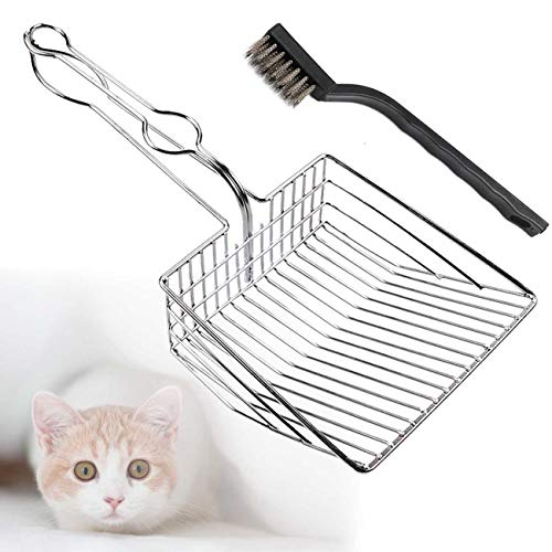 TraGoods Cat Litter Scoop Shovel Metal Stainless Steel Cat Litter Tray Hollow Pet Toilet Clean Shovel (Silver)