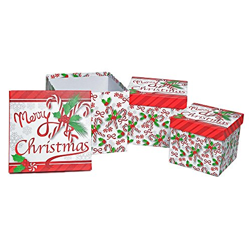3 Nesting Boxes (Gift Boutique 3 Piece Nesting Christmas Holiday Boxes, Merry Christmas)