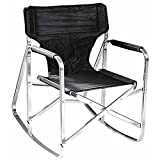 Ming's Mark 24'' x16.1''Dx16.5''H Folding Rocking Director's Chair w/ Flat aluminum frame in Black