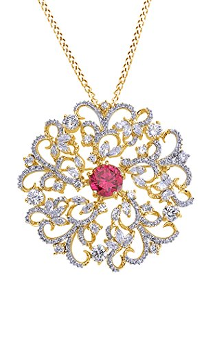 AFFY Simulated Ruby & White Cubic Zirconia Flower Swirl Brooch Pin Medallion Vintage Pendant Necklace in Yellow Gold Over Brass
