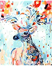 Wowdecor Paint by Numbers Canvas Kits for Adults Beginner Kids, DIY Acrylic Number Painting - Deer Animals Flowers 16x20 inch - Wall Art Digital Oil Painting Home Decor (Framed)