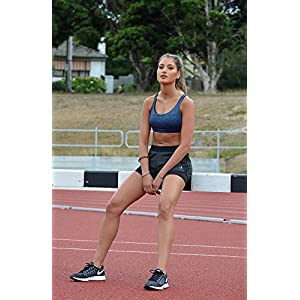 icyzone Workout Sports Bras For Women - Strappy Sports Bra Padded For Yoga, Running, Fitness - Athletic Activewear Tops (Navy, L)