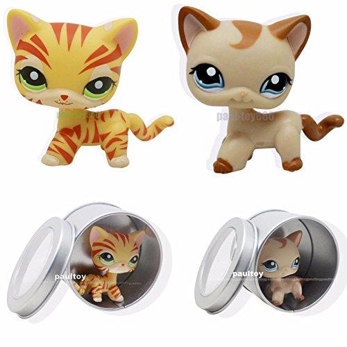 tongrou 2pcs #1024 #1451 Littlest Pet Shop RARE Yellow & Tan Short Hair Cat kitty LPS (Littlest Pet Shop 1451)