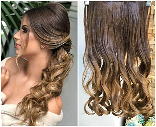 Synthetic Single One Piece Half Head Wavy Curly Ombre Clip in Hair Extensions 5 Clips (Medium brown to Dark blonde)