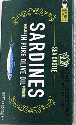 (Sea Castle Sardines Skinless In Pure Olive Oil Boneless Kosher For Passover 4.4 Oz. Pk Of 6. )