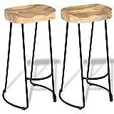 vidaXL Solid Mango Wood 2 Piece Gavin Bar Stools