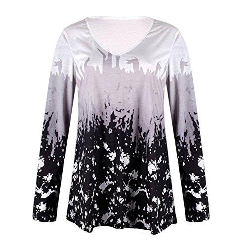 longue T Tops l'automne Print Neck Grey femme shirts V Floral longues QHDZ Chemise dcontracts pour femmes manches fCR5RwBqx6