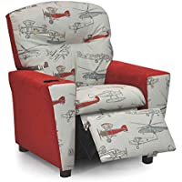 Kidz World Vintage Airplanes Kids Recliner with Cup Holder, Red Suede