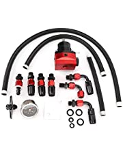 Acouto Universal Adjustable Aluminum Alloy Fuel Pressure Regulator Kit Fuel Supercharger Fuel Line Hose Fittings Black & Red