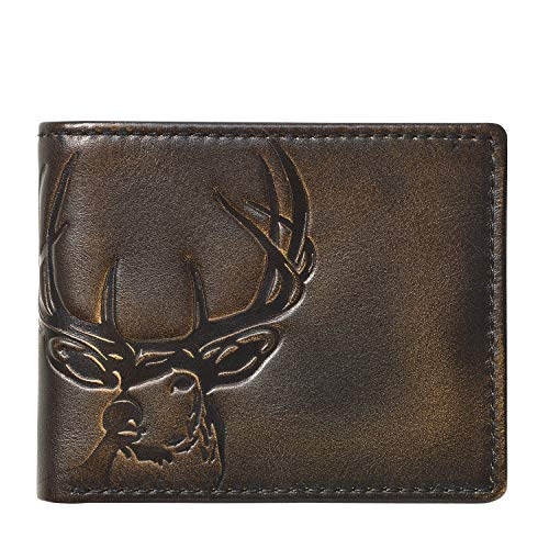 HOJ Co. DEER Bifold Wallet with Flip ID | Full Grain Leather With Hand Burnished Finish | Extra Capacity Men's Leather Wallet | Deer Wallet...