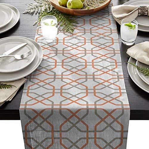 Cotton Linen Burlap Table Runner, Orange Grey Trellis