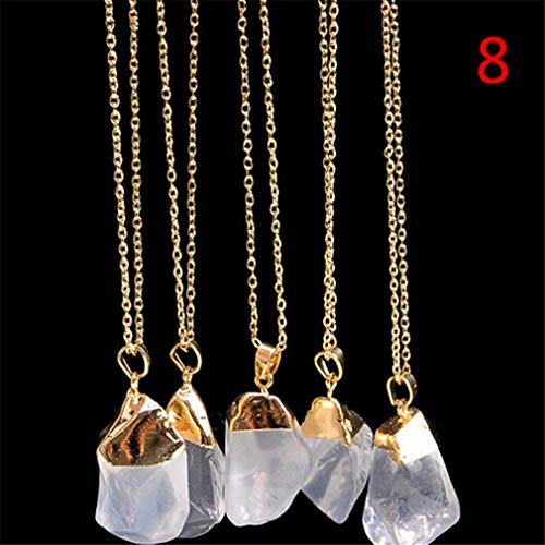 Dolland Natural Crystal Irregular Necklace Rainbow Gemstone Quartz Stone Pendants Sweater Chain Jewelry,Picture Color ()