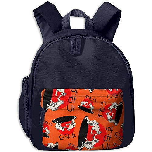 Sumo Wrestling Printed School Backpacks For Boys Girls With A Pocket Book Bag by AS3a Backpacks