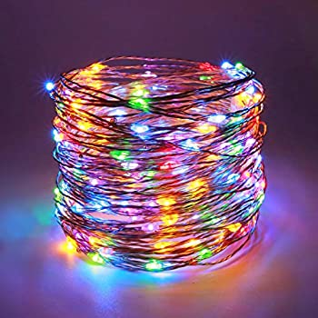 YULETIME Fairy String Lights with Adapter, 50 Ft 150 LEDs Waterproof Starry Copper Wire Lights, Home Decor Firefly Lights for Garden Backyard Christmas Tree (Multicolor, Silvery Wire)