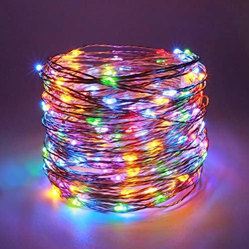 YULETIME Fairy String Lights with Adapter, 50 Ft 150 LEDs Waterproof Starry Copper Wire Lights, Home Decor Firefly Lights for Garden Backyard Christmas Tree (Silvery Wire, Multicolor) from YULETIME
